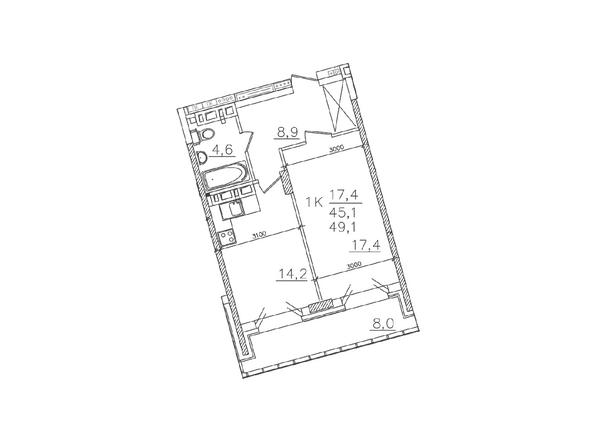 Планировки Жилой комплекс ЗОЛОТАЯ НИВА, дом 1 - Планировка однокомнатной квартиры 45,1 кв.м