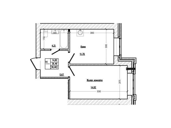 Планировка 1-комн 36,46 м²