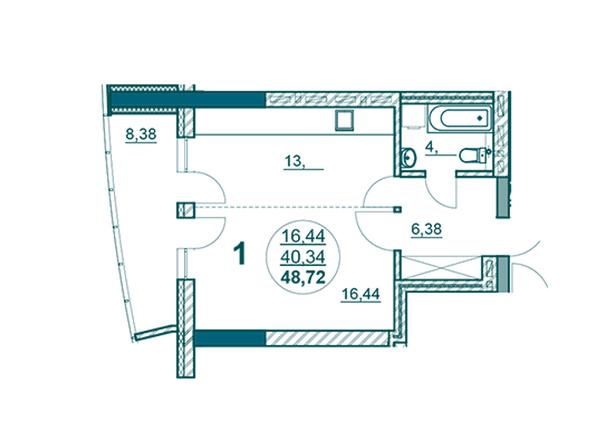 Планировки Жилой комплекс ФЛОТИЛИЯ - 1-комнатная 48,72 кв.м блок Б