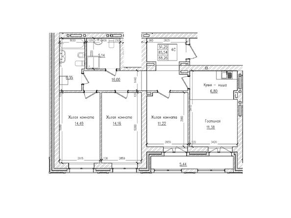 Планировки Жилой комплекс КРАСНЫЙ ПРОСПЕКТ, дом 2 - 4-комнатная 85,5 кв.м