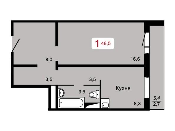 1-комнатная 46,5 кв.м