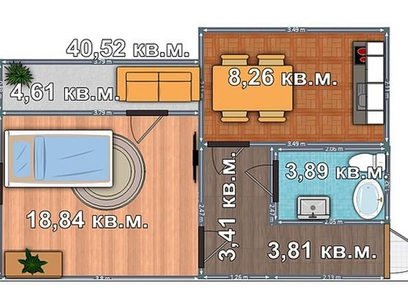 Планировка 1-комнатной квартиры 40,52 кв.м