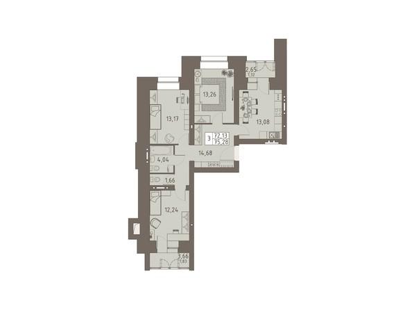 Планировки ВАВИЛОВСКИЙ ДВОРИК - 3-комнатная 76,04 кв.м