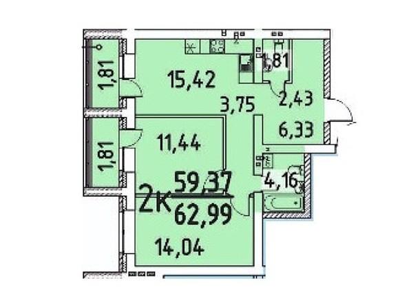 2-комнатная 59.37; 62.99 кв.м