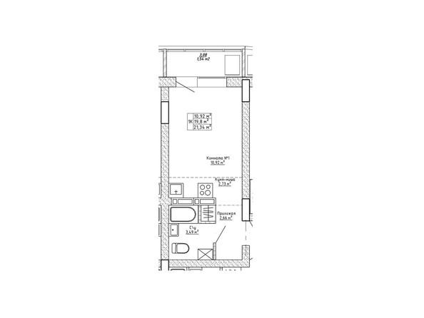 Планировки Ленина, 123 - Планировка однокомнатной квартиры 21,34 кв.м