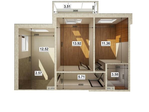 Планировки Жилой комплекс ЮГО-ЗАПАДНЫЙ, б/с 8-10 - Планировка трехкомнатной квартиры 50,49 кв.м