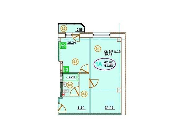 Планировка 1-комн 42,42 м²