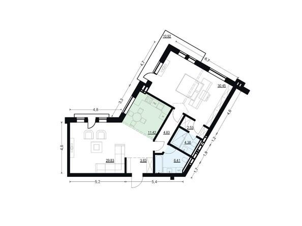 Планировки Жилой комплекс ЖУКОВКА, б/с 7,8 - Планировка двухкомнатной квартиры 93,48 кв.м