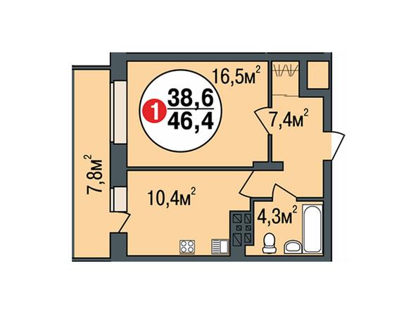Планировки Жилой комплекс ПОКРОВСКИЙ, б/с 3, 4, 5 - Планировка однокомнатной квартиры 46,4 кв.м