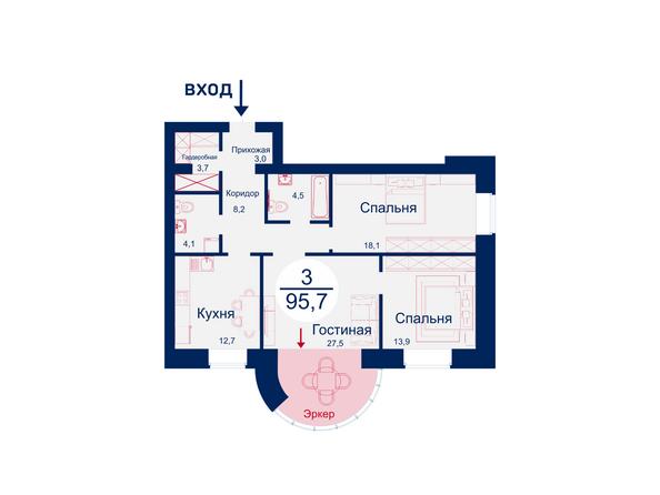 Планировки Жилой комплекс SCANDIS (Скандис), дом 5 - Планировка трехкомнатной квартиры 95,7 кв.м