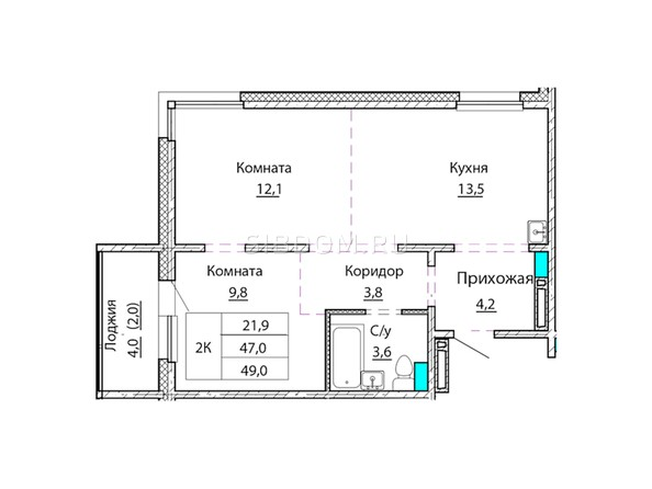 Планировки Жилой комплекс КОСМОНАВТЫ, Б/С 1 - Планировка двухкомнатной квартиры 49 кв.м