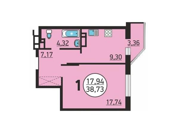 Планировка 1-комн 37,99, 38,73 м²