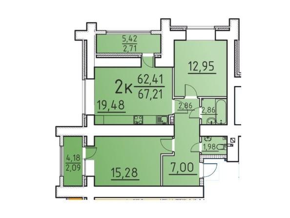 Планировка 2-комн 62,41, 67,21 м²