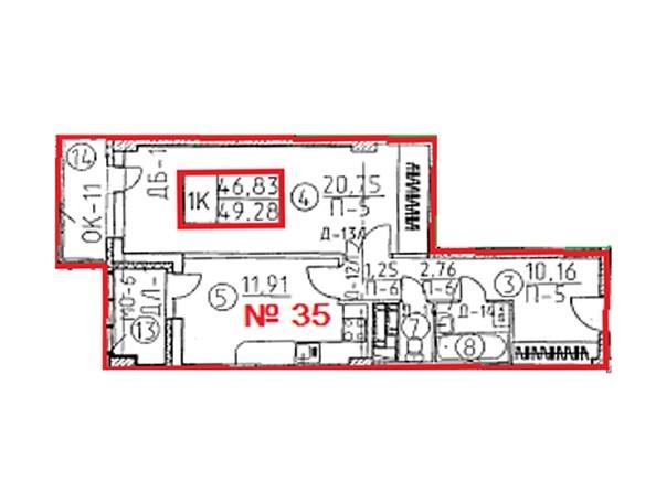 Планировки Жилой комплекс Овражный, дом 2 - Планировка однокомнатной квартиры 49,28 кв.м