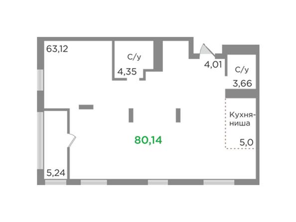 Планировки Жилой комплекс ЯСНЫЙ БЕРЕГ, дом 12 - Планировка однокомнатной квартиры 80,14 кв.м