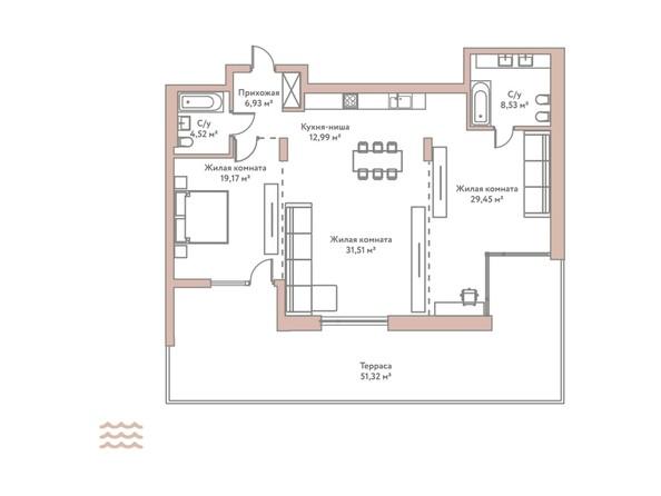 Планировка 3-комн 113,1 м²