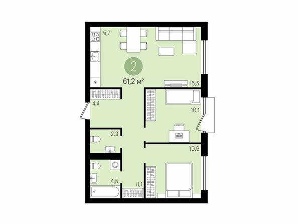 Планировки Жилой комплекс На Декабристов, дом 5 - 2-комнатная 61,2 м2
