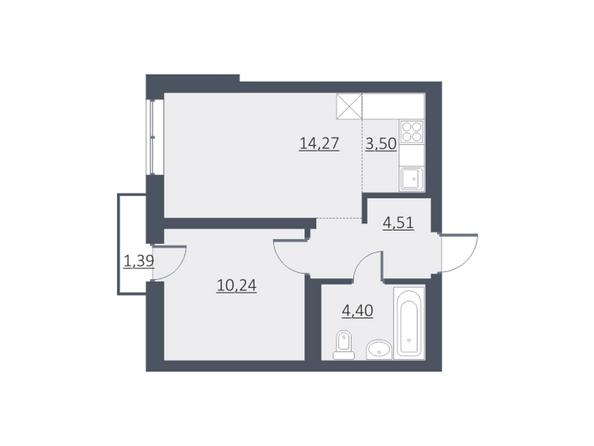 Планировки Жилой комплекс ДУНАЕВСКИЙ, дом 3 - Планировка однокомнатной квартиры 37,14 кв.м