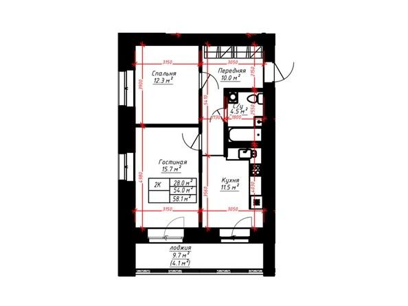 2-комнатная 58.1 кв.м
