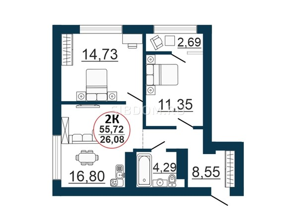 Планировка  55,72 - 56,37 м²