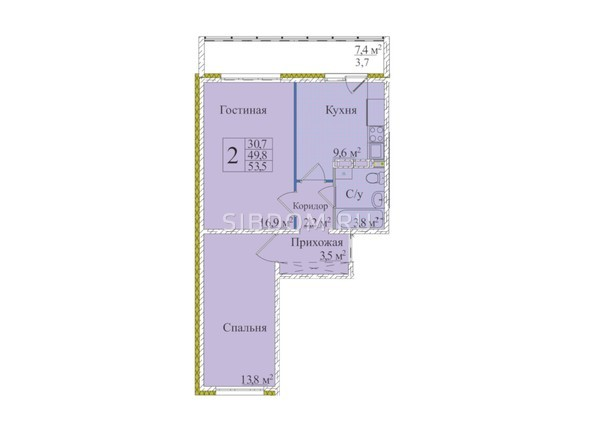 Планировки Жилой комплекс КЕМЕРОВО-СИТИ, дом 37, б/с 1, 2, 3 - Планировка двухкомнатной квартиры 53,5 кв.м