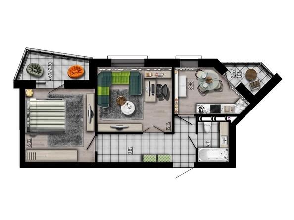 Планировка двухкомнатной квартиры 57,51 кв.м