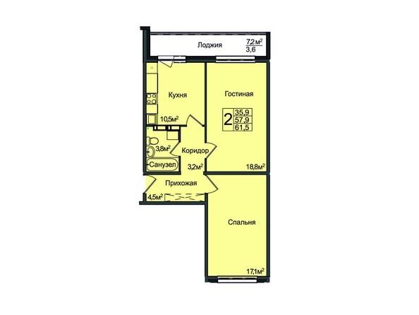 Планировка 2-комнатной квартиры 61,5