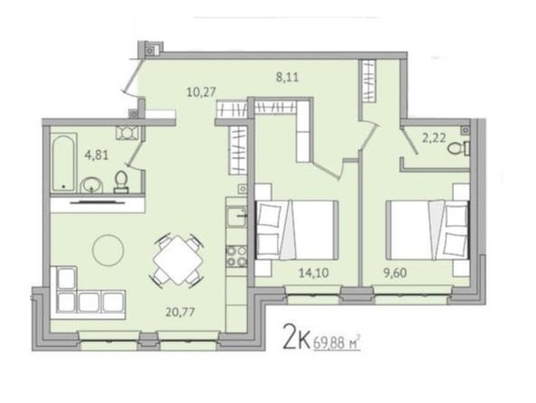 2-комнатная 69,88 кв.м