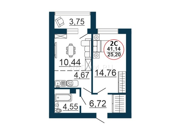 Планировка 2-комн 41,14 м²