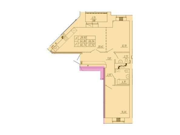 Планировка 2-комн 64,86 - 67,92 м²