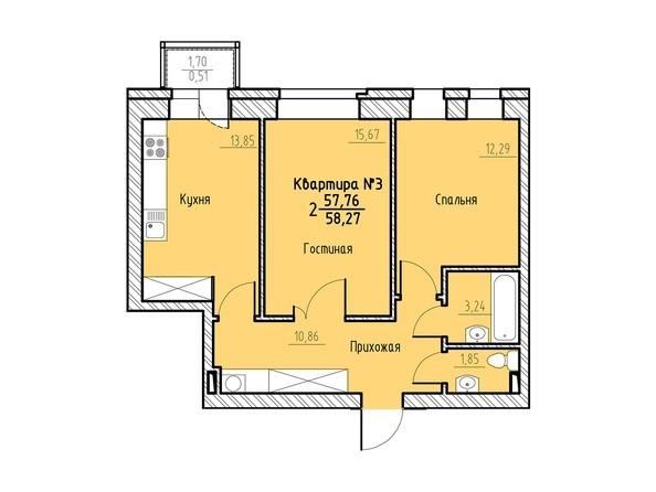 Планировка 2-комн 58,27 м²