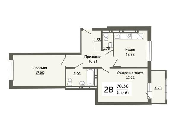 Планировки Жилой комплекс ДОМ НА НЕМИРОВИЧА, б/с 1 - Планировка двухкомнатной квартиры 65,66 кв.м