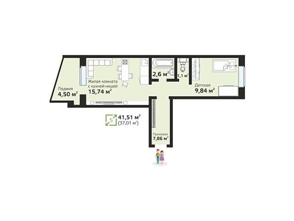 Планировки Жилой комплекс ЧИСТАЯ СЛОБОДА, дом 17 - Планировка двухкомнатной квартиры 41,51 кв.м