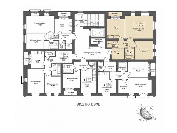 Планировки Жилой комплекс ОНЕГА, дом 4 - 2-комнатная 61,9 кв.м