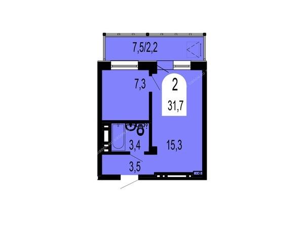 Планировки Жилой комплекс ТИХИЕ ЗОРИ, дом 1 (Красстрой) - Планировка двухкомнатной квартиры 31,7 кв.м