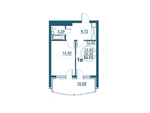 Планировки Жилой комплекс ФЛОТИЛИЯ - 1-комнатная 50,53 кв.м блок А