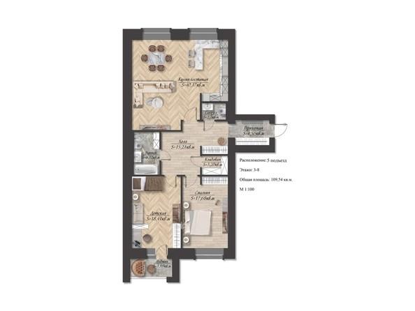 Планировка 3-комн 109,54 м²