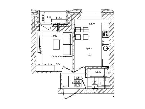 Планировка 1-комн 26,3 м²