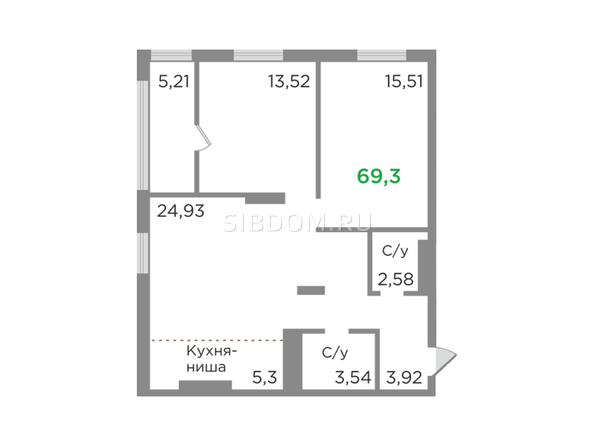Планировки Жилой комплекс ЯСНЫЙ БЕРЕГ, дом 12 - Планировка трехкомнатной квартиры 69,3 кв.м