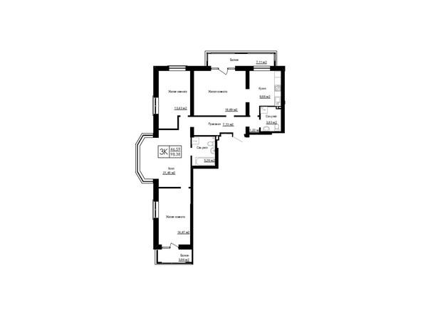 Планировки Жилой комплекс ДОМ НА БЕРЕЗОВОЙ РОЩЕ - Планировка трехкомнатной квартиры 98,38 кв.м.