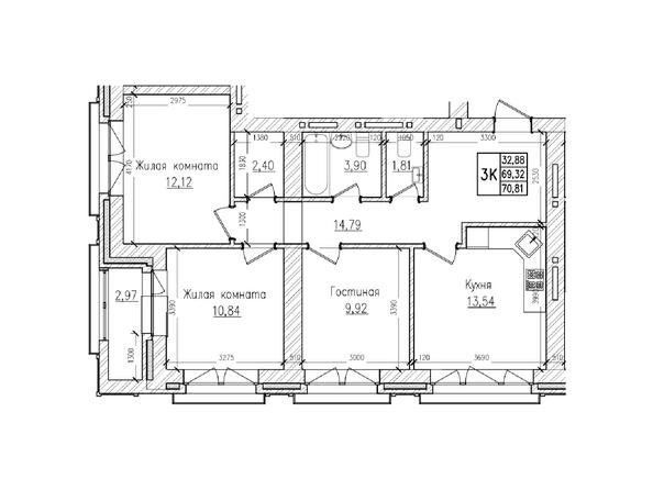 Планировки Жилой комплекс КРАСНЫЙ ПРОСПЕКТ, дом 4 - 3-комнатная 69,3 кв.м
