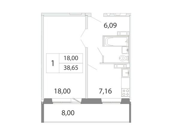 Планировка 1-комн 38,65 м²