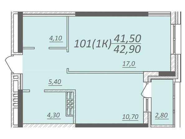 Планировка 1-комнатной квартиры 42,9 кв.м