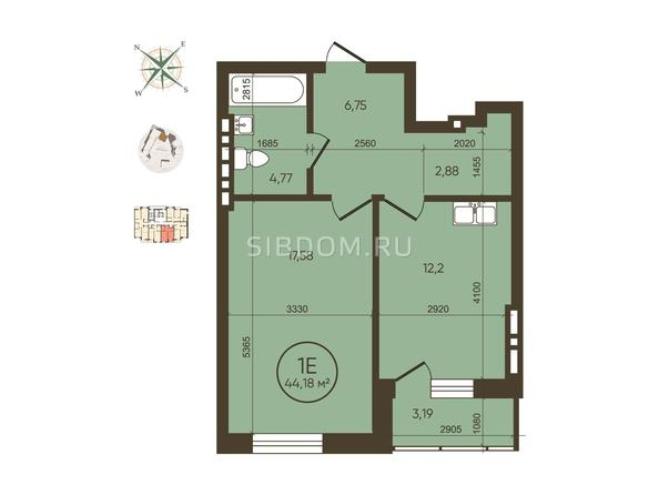 1-комнатная 44,18 кв.м