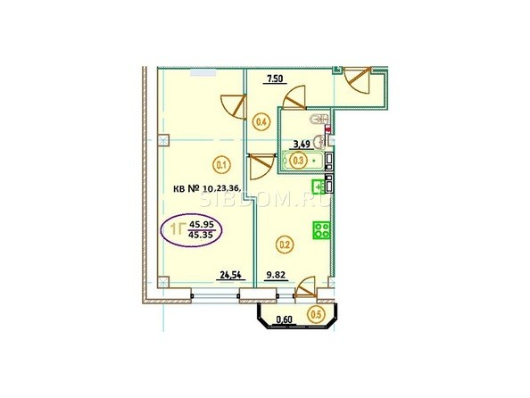 Планировка 1-комн 45,95 м²