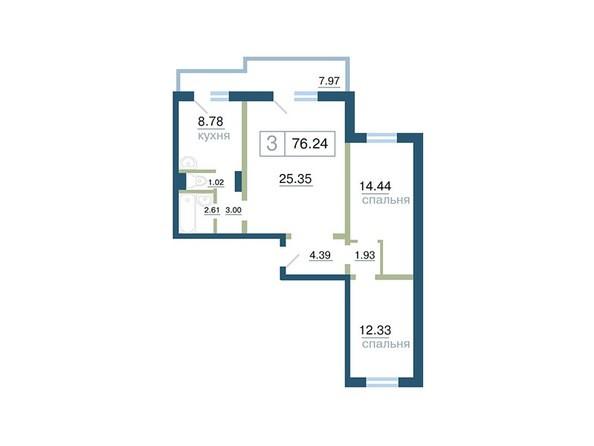 Планировка 3-комн 76,24 м²
