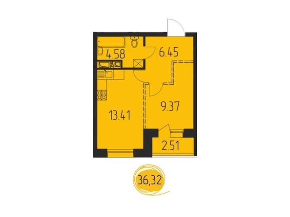 1-комнатная 36,32 кв.м