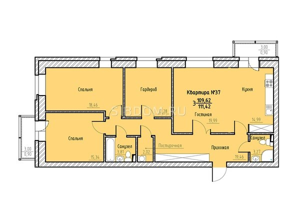 Планировка 3-комн 111,42 м²