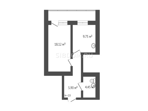 Планировка 1-комн 45 м²
