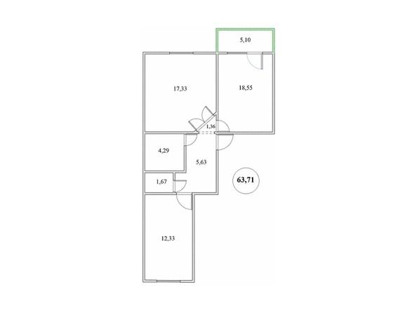 Планировка 2-комнатной квартиры 63,71 кв.м